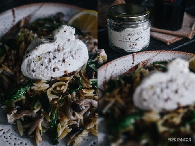 Recipe: Truffled Orzo with Mushrooms, Kale, and Burrata