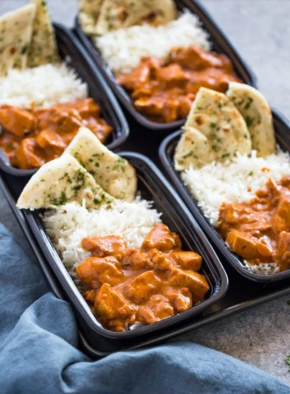Butter Chicken with Rice and Garlic Naan