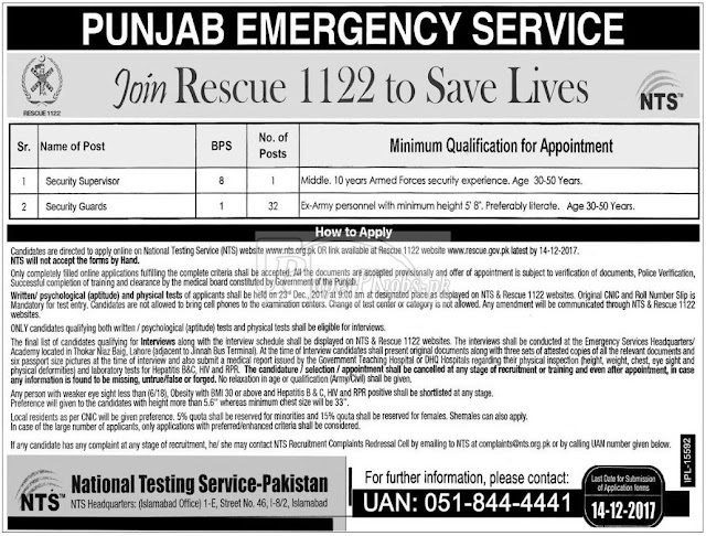 Guards Jobs in RESCUE Punjab 2017