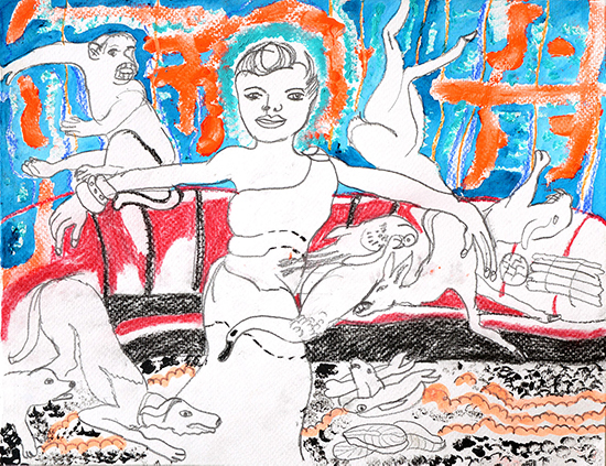 Charlotte Schleiffert  Girl with dog and monkey, 2019 mixed media on paper 25 x 32,5 cm