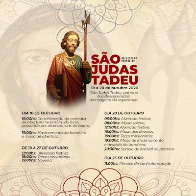 Festa de São Judas, em Patos, começa neste domingo