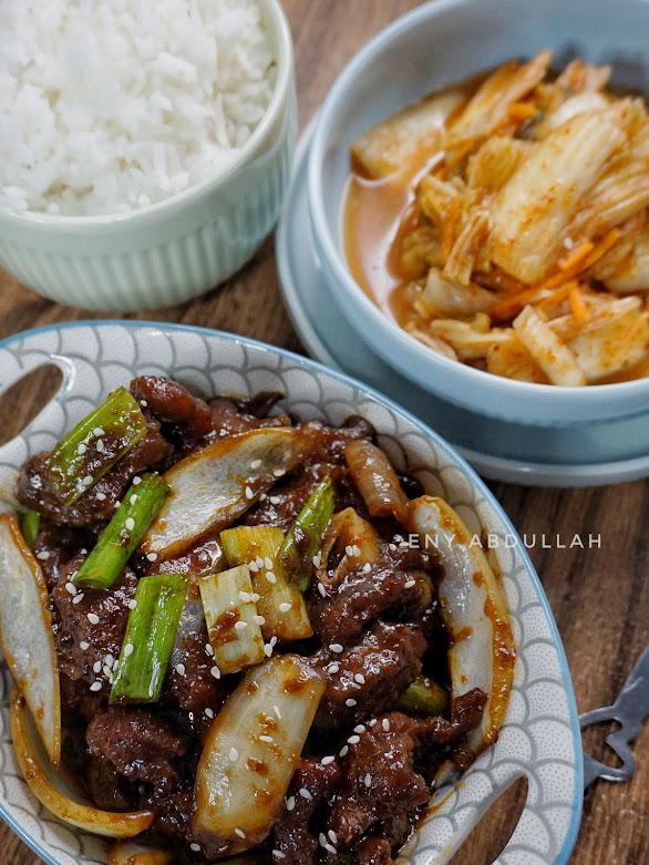 resepi bulgogi malaysia, bulgogi, resepi masakan korea, daging kicap, daging bulgogi, beef bulgogi