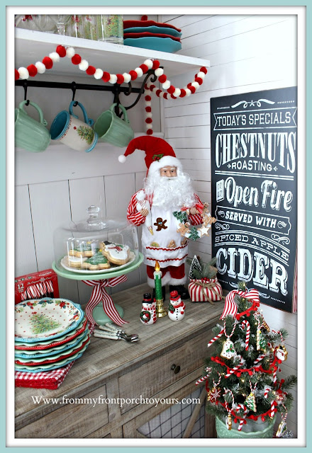 Santa-Figurine-Cottage-Style-Farmhouse-Style-Gingerbread-Jadeite-Cake-Stand-Pioneer-Woman-Vintage-Breakfast Nook Christmas Decor-From My Front Porch To Yours
