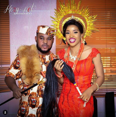 Photos: Nigerian couple make grand entry at their traditional wedding