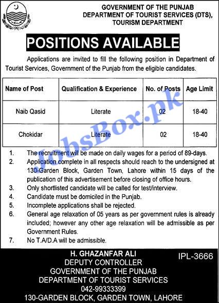 Latest Tourism Department Punjab Jobs Advertisement 2021