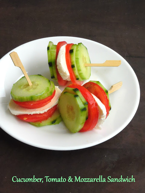 Sandwich with Cucumber, tomato & cheese