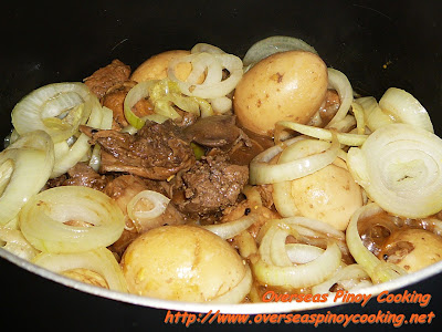 Adobo with Chicken Liver and Hard Boiled Egg - Cooking Procedure