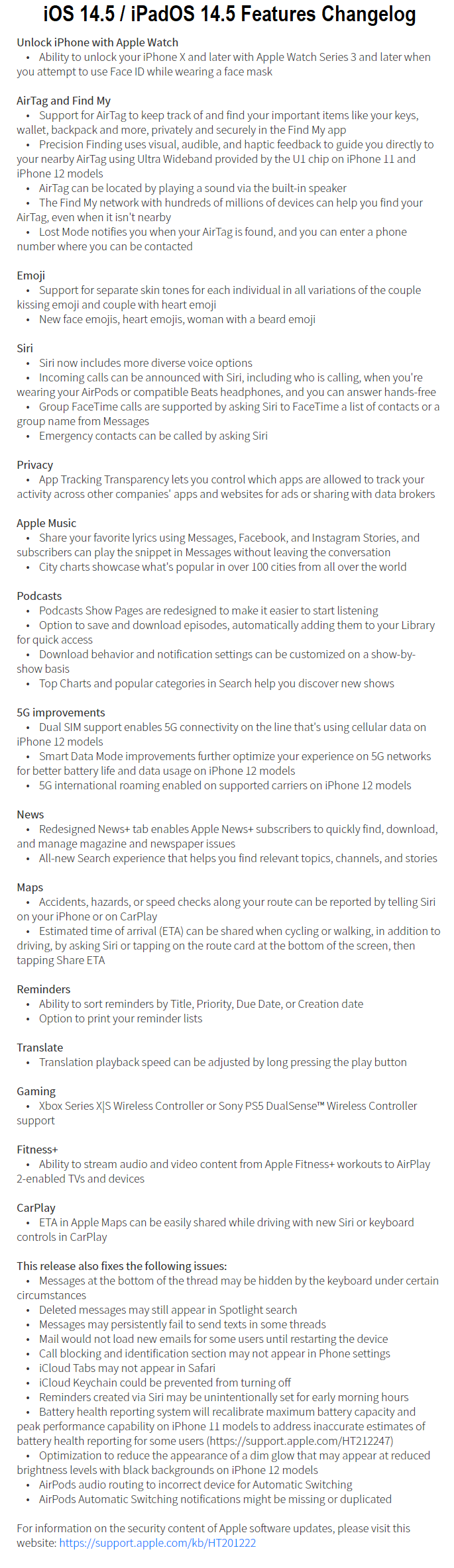 iOS 14.5 Features Changelog