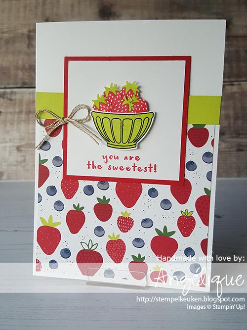 de Stempelkeuken Stampin'Up! producten koopt u bij de Stempelkeuken http://stempelkeuken.blogspot.com #stempelkeuken #stampinup #stampinupnl #stampinupdemonstrator #snailmail #cardmaking #stamping #makeacard #sendacard #strawberry #aardbei #strawberries #fruit #vitamines #papercrafting #summer #lekkereten #beterschap #youarethesweetest #realred #lemonlimetwist #thread #cardstock #kaartenmaken #basteln #denhaag #scheveningen #westland #rotterdam #rijswijk