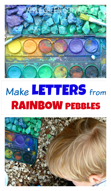 Make colorful letters out of rainbow pebbles. A fun outdoors activity for kids for the summer!