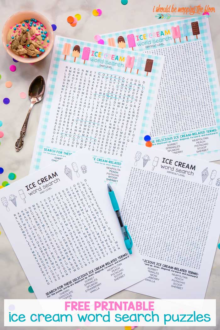 Ice Cream Word Search Printables