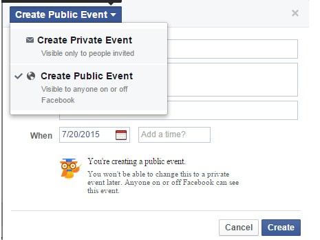 how to create an event on personal facebook page