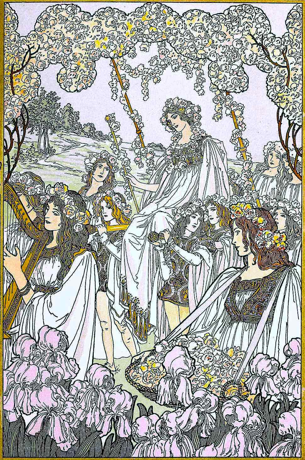 an 1898 procession illustration of women and flowers