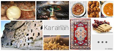 Karaman'ın meşhur şeylerini gösteren resimlerden oluşan kolaj