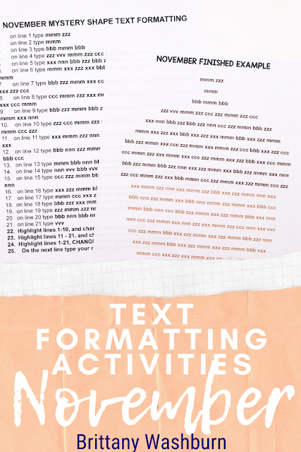 Text Formatting Activities for the Computer Lab or Classroom