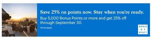 Hyatt凱悅最新買分活動,購買5,000分及以上享受25%折扣優惠(09/30前有效)