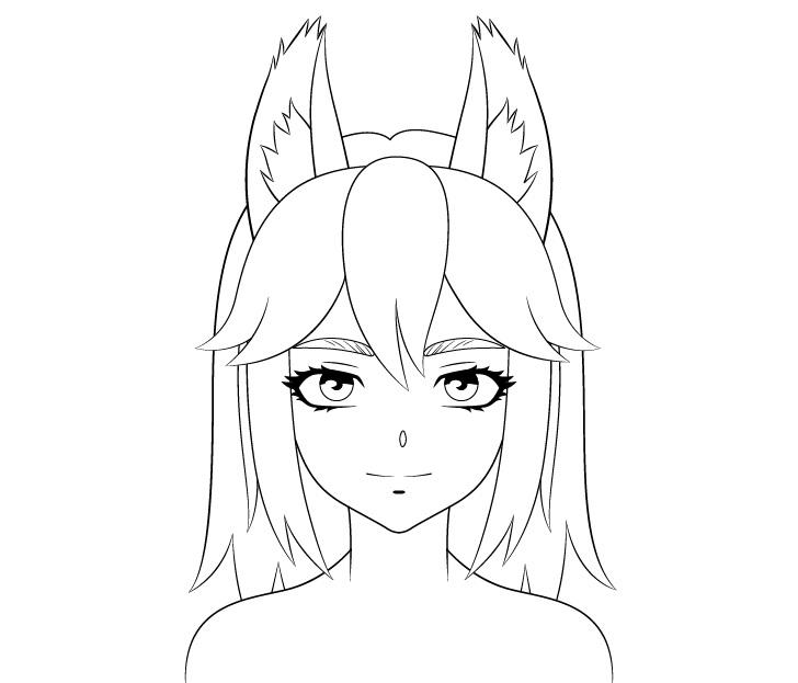 Gambar detail wajah serigala anime