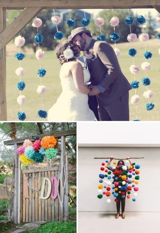 wedding pom poms, decorazioni matrimonio