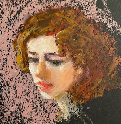 soft colors oil pastel portrait painting on black