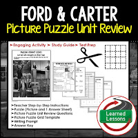 American History Picture Puzzles are great for TEST PREP, UNIT REVIEWS, TEST REVIEWS, and STUDY GUIDES, Ford and Carter