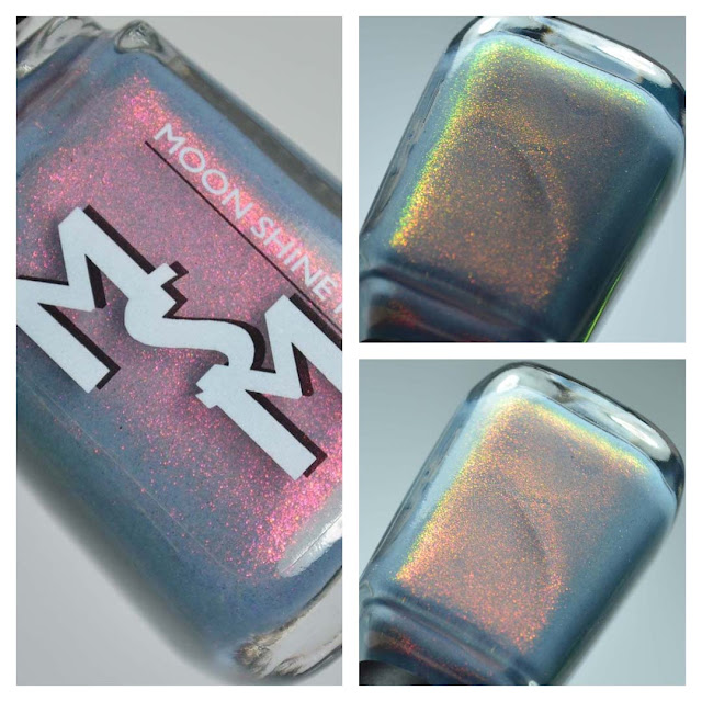 blue nail polish with color shifting shimmer in a bottle