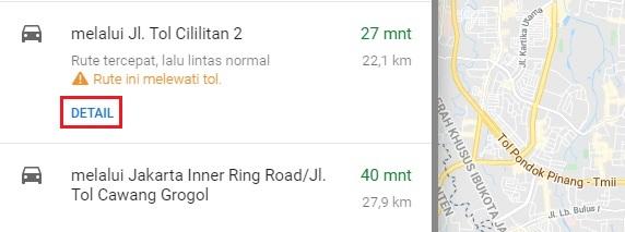 info jarak dan waktu tempuh google maps