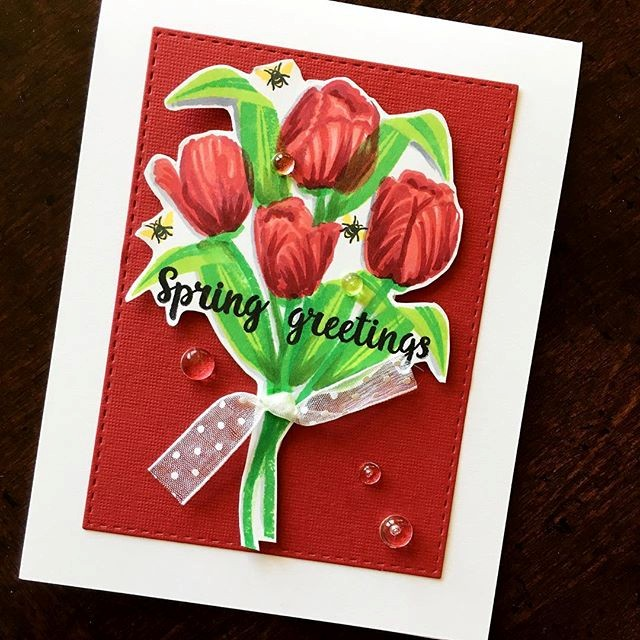 Sunny Studio Stamps: Timeless Tulips Spring Greetings Card by Jackie