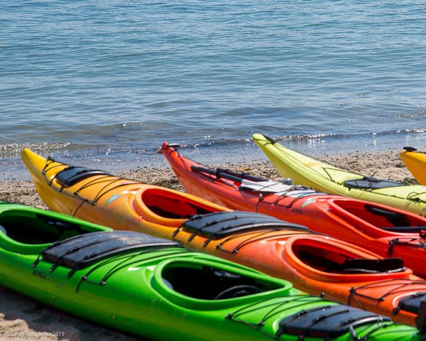 Portland, Maine USA July 2019 photo by Corey Templeton. Sea kayaks on the East End Beach summer.