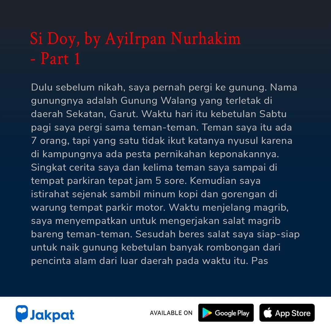 Kisah Misteri Si Doy, by Ayilrpan Nurhakim Part 1