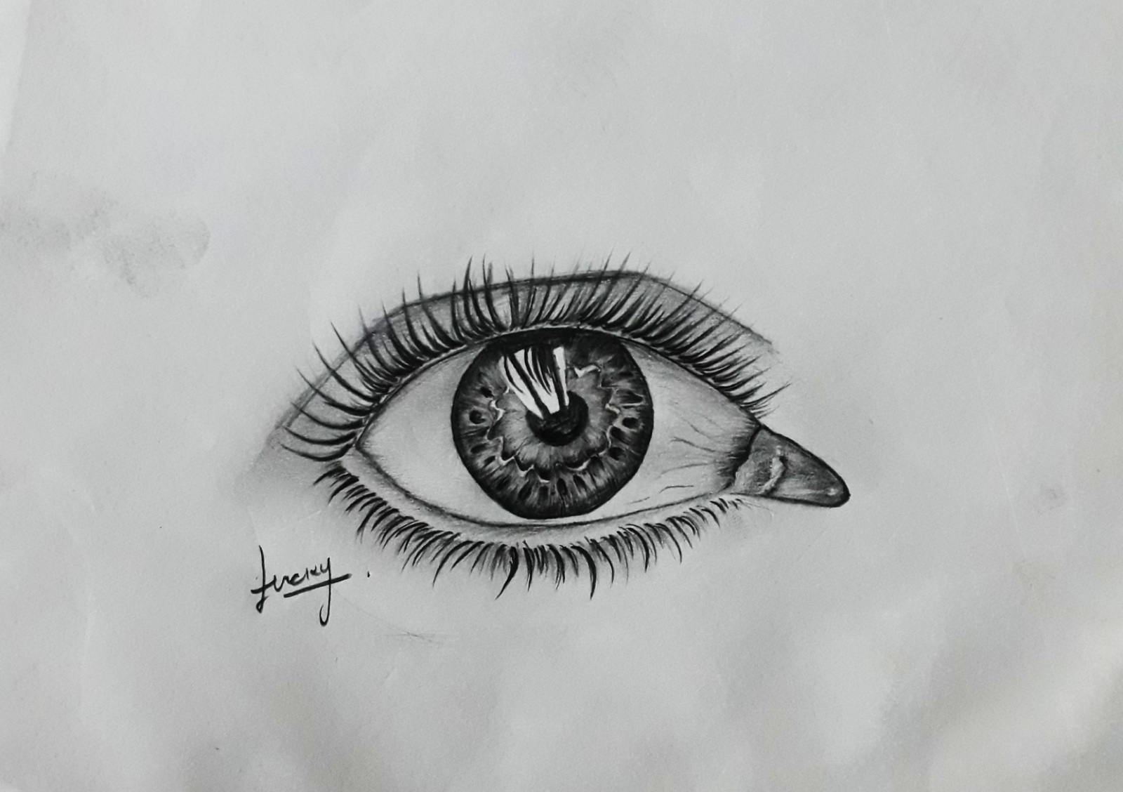 Black and white realistic eye pencil sketch