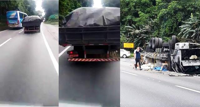 Caminhoneiro grava o próprio acidente em Cubatão - SP