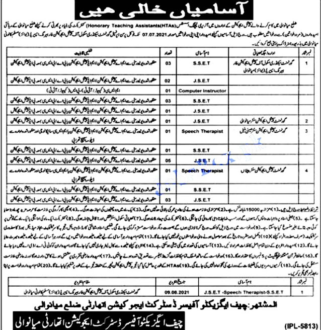 Special Education Department Mianwali Punjab Latest Jobs June 2021