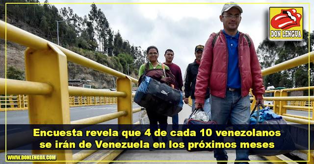 Encuesta revela que 4 de cada 10 venezolanos se irán de Venezuela en los próximos meses