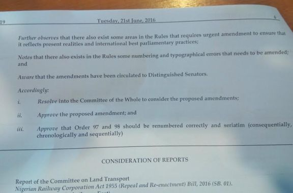 Senate order paper today