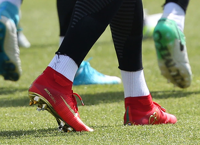 9765384cf Ronaldo Switches To Nike Mercurial Campeões Cleats. Close-up with  Cristiano's new signature cleats (via Soccer Bible). Celebrating Portugal's  ...