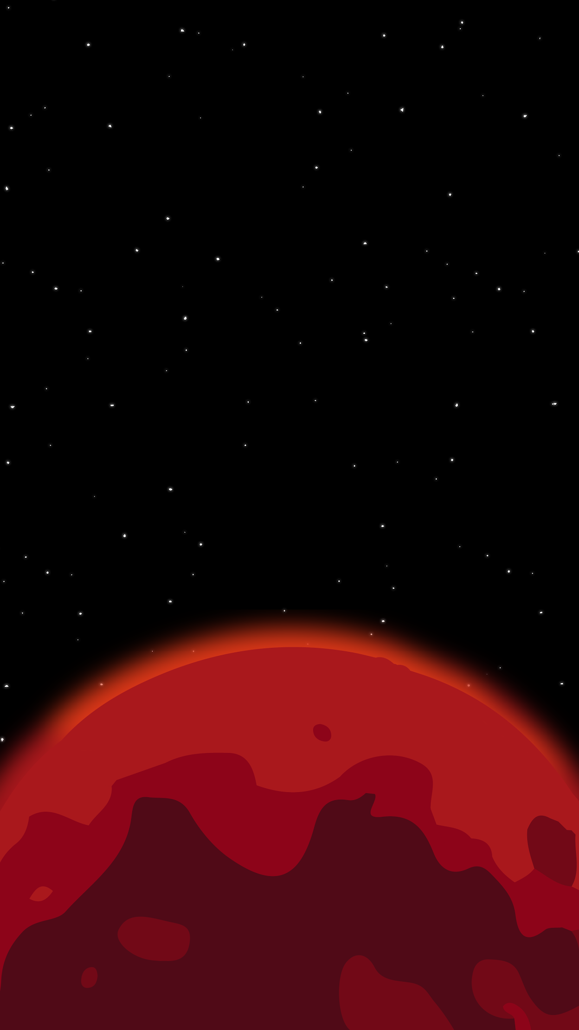 amoled wallpaper of a galaxy true black and a red planet or mars