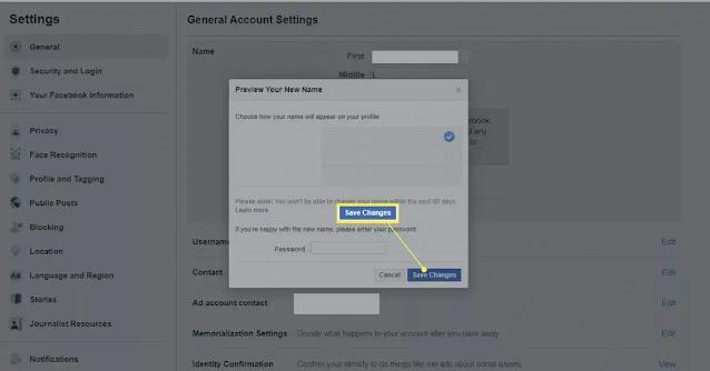 رابط تغيير اسم الفيس بوك
