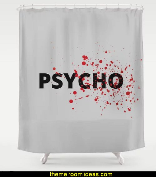 Psycho Shower Curtain  Halloween decorations - Halloween decorating props - Halloween theme - Halloween decorating ideas - Halloween decor - wall murals halloween haunted mansion - lifesize standing halloween figures - halloween bedding -  HALLOWEEN COSTUMES