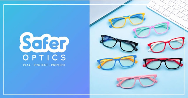 SaferOptics logo colourful eyewear collection for kids - Play, Protect, Prevent