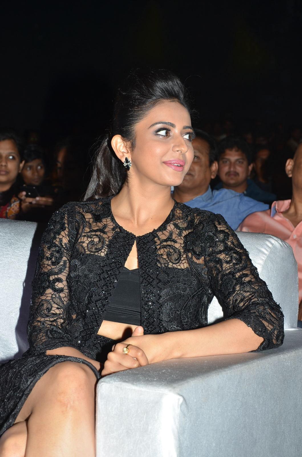 Rakul Preet Singh Stills In Black Dress at Audio Launch