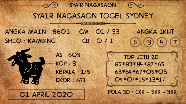 Prediksi Togel Sidney Rabu 01 April 2020 - Syair Nagasaon Sidney