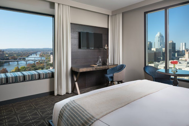 The Kimpton Hotel Van Zandt is the newest of downtown Austin hotels. This boutique hotel embraces the local music and stands out amongst hotels in Austin.