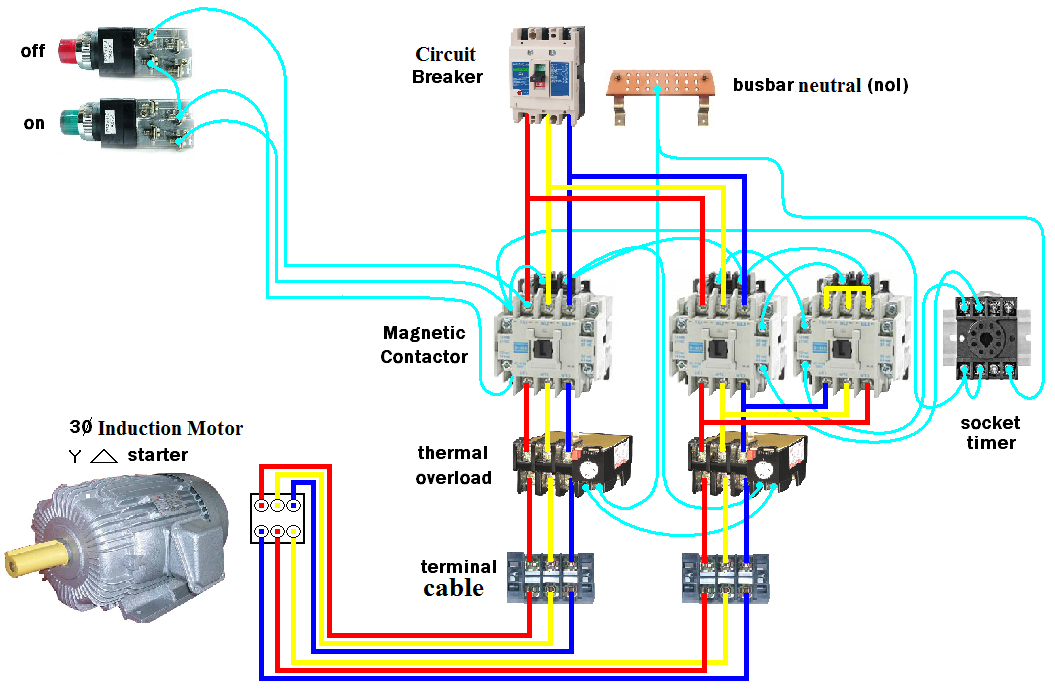 Wiring Diagram For Star Delta Motor Starter : Wiring dol starter motor star delta elec eng world