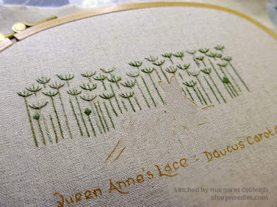 Embroidered flower stems from Jenny McWhinney's Queen Anne's Lace