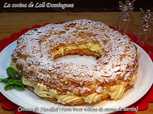 Corona de Navidad (París Brest relleno de crema de turrón)