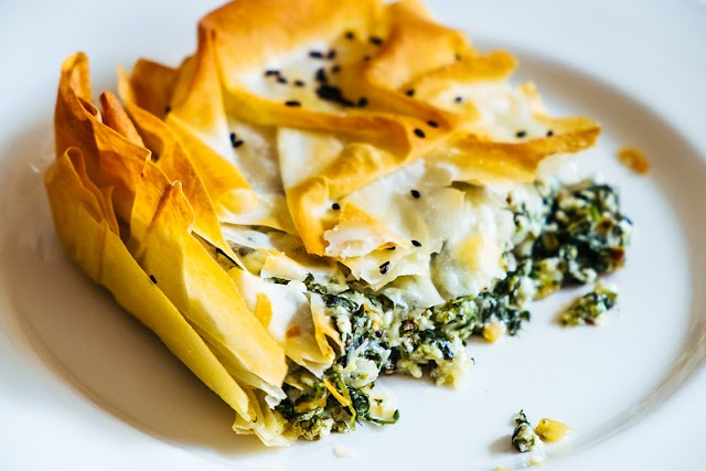 Greek pie recipe - spanakopita with spinach and feta cheese