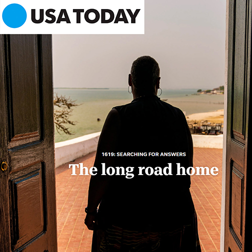 Snapshot from USA Today feature story.  Image of Dr Tucker walking through a doorway.  Ocean view in horizon.  Text: 1619 Search for Answers.  The long road home