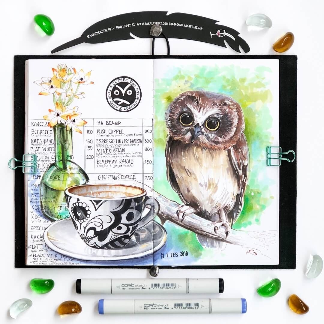 02-Owl-and-Coffee-Shop-Irina-Shelmenko-Ирина-Шельменко-Travel-Diary-Sketches-and-Moleskine-Drawings-www-designstack-co
