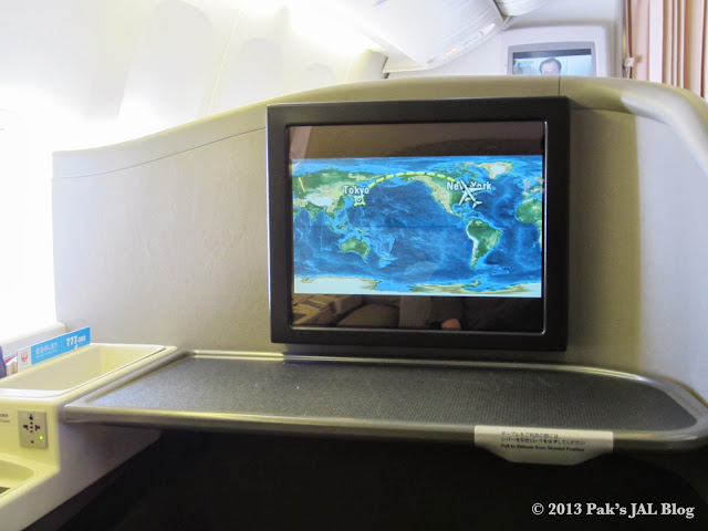 Every seat is equipped with a 19 inch personal TV set