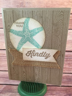 "This Masculine Crumb Cake and Pool Party card uses Stampin' Up!'s: Sale a Bration Perfect Pairings stamp set, Picture Perfect and Hardwood stamp sets, Burlap Ribbon, 2 1/2"" Circle Punch, Banner Triple Punch, and a Stamping Sponge!  www.stampwithjennifer.blogspot.com"